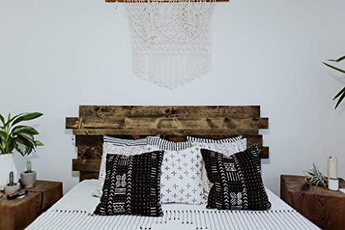 Wooden Platform Bed Frame and Offset Paneled Headboard/Modern and Contemporary/Rustic and Reclaimed Style/Old World/Solid Wood