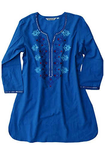 Ayurvastram Embroidered Block Printed or Solid Pure Cotton Tunic, Top, Kurti, Shirt, Blouse – S: Body Chest 34.5 inches, Multicolor Embroidery on Blue
