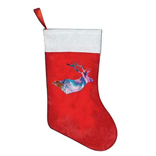 monogram doormat Galaxy Moose Elk Classic Christmas Stocking, Santa Gift Bag for Party Favors Santa Xmas Tree Hanging Ornaments Xmas Party Decorations -