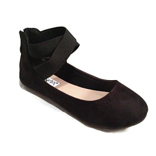 ANNA Dana-20KB Girls' Dress Ballet Flat Faux Suede Shoes, Black 12