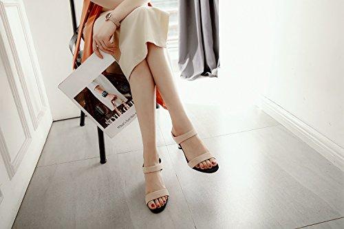 Exposed Hausschuhe LIANGXIE Sommer Runde Weibliche Niedrige Halb Neue 2018 Mund Beige mit Toe Stil Flachen Xiaoqi Sandalen Leere xXZXSrqBw