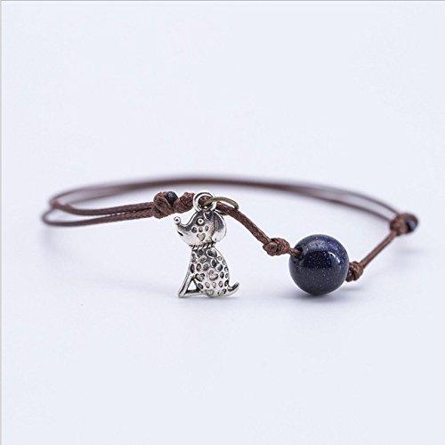 Over 13 free postage retro small animal pendant Teddy pug leather cord bracelet bead bracelet bracelet anklet stars