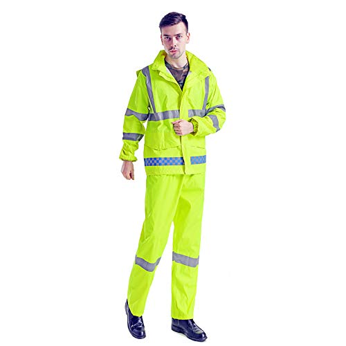 XUHAN High Visibility Reflective Waterproof Rain Jacket Working Clothes Motorcycle Cycling Sports Outdoor Reflective Safety Clothing with pants (Small) ()