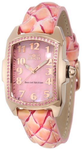 Invicta Women's 10210 Lupah Pink Mother-Of-Pearl Dial Pink Leather Watch (Mother Of Pearl Womans Watch)