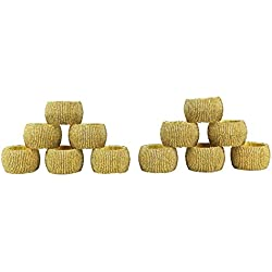 Cotton Craft - 12 Pack Beaded Napkin Ring Set -Antique Gold - Hand Made by Skilled artisans - A Beautiful complement to Your Dinner Table décor