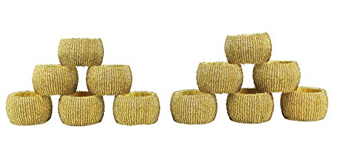 Cotton Craft 12 Pack Beaded Napkin Ring Set -Antique Gold - Hand Made by skilled artisans - A beautiful complement to your dinner table décor - Gold Beaded Napkin Ring