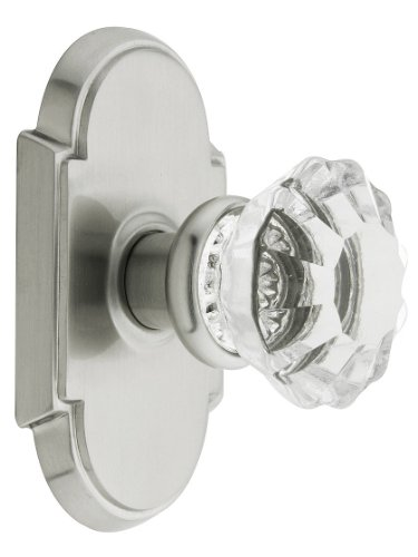 Astoria Crystal Clear (Arched Rosette Set With Fluted Crystal Knobs Double Dummy In Satin Nickel. Old Door Knobs.)