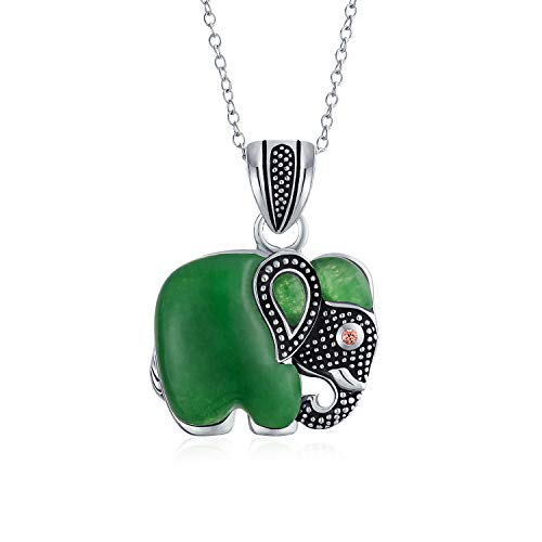 (Bali Style Indian Elephant Tribal Dyed Green Jade Pendant Oxidized 925 Sterling Silver Necklace For Women With Chain)