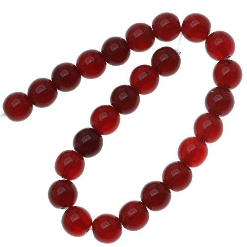 Czech Glass Druk 25-Piece Round Beads, 8mm, Ruby Red (Round Bead Druk)