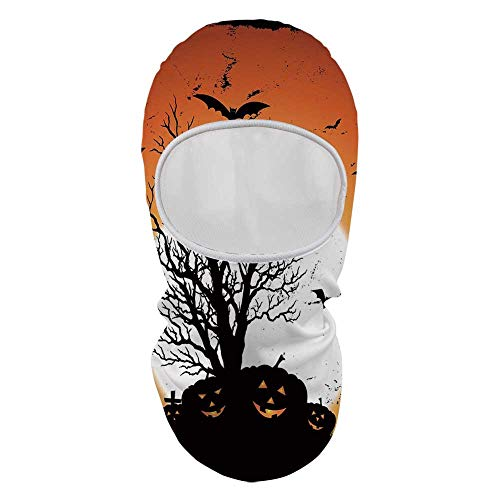 YOLIYANA Vintage Halloween Face Mask,Grunge Halloween Image with Eerie Atmosphere Graveyard Bats Pumpkins for Outdoor,8.6