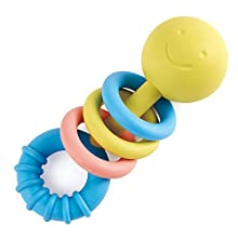 Hape Rattling Rings Teether | Movable Teething & Rattle Shake Toy for Babies, Soft Colors