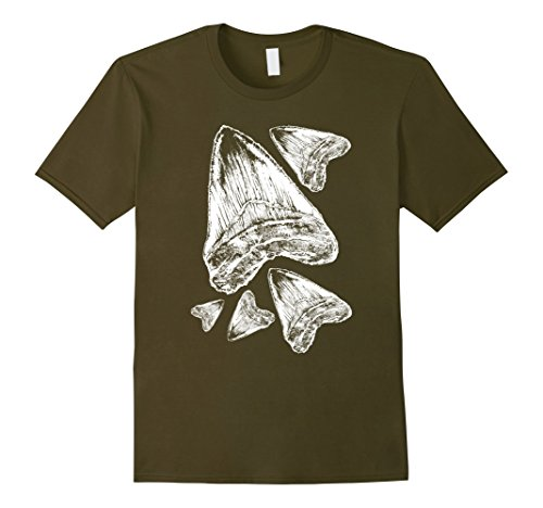 Men's Megalodon shirt ideal for the rockhound & fossil collector Medium Olive