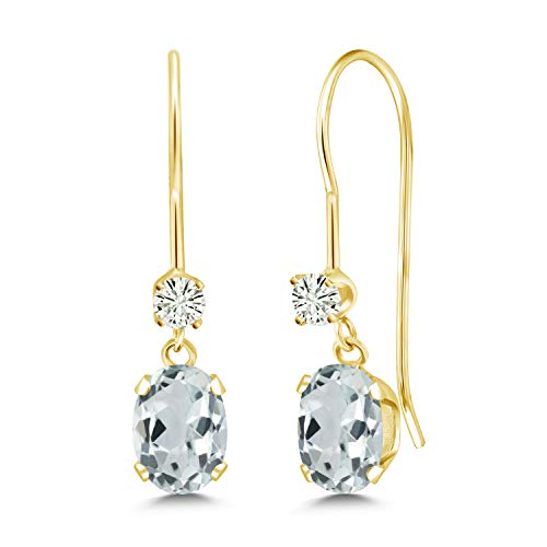 (14K Yellow Gold Dangle Earrings Oval Sky Blue Aquamarine and Forever Classic Created Moissanite 0.12ct (DEW) by Charles & Colvard)
