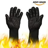 BBQ Cooking Gloves [1472℉ NEWEST] Heat Insulated Grill Glove - EN407/EN420 CE Protective Oven Mitt Extreme Heat Resistant Grilling Glove for Baking - Heatproof Adiabatic Silicone Glove, 1 Pair (Black)