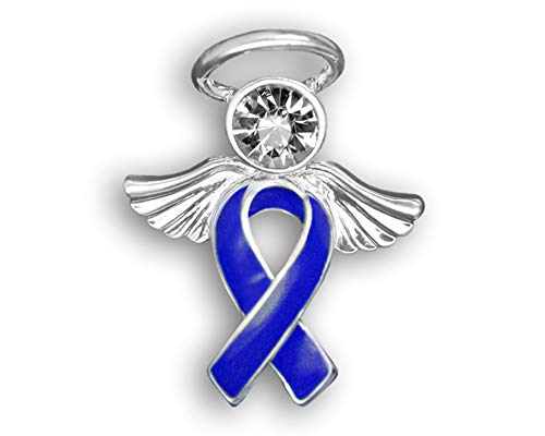- Fundraising For A Cause Child Abuse Awareness Dark Blue Angel Ribbon Pins - 25 Pins