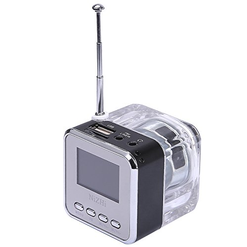HDE Rechargeable Digital Mini Flashing LED Travel Pocket Speaker with FM Radio, MP3 Player and Micro SD slot