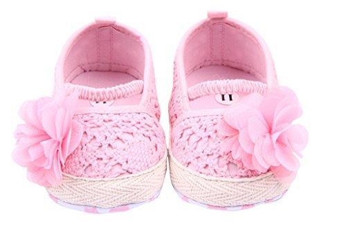 V-SOL Infantil Sandalias Zapatos Zapatillas Bailarinas Tela Para Bebé Niña Suaves Primeros Pasos Rosa