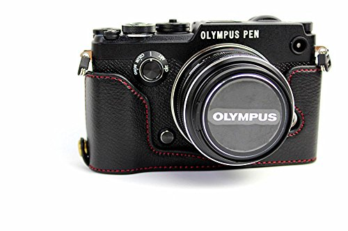 Case Black Leather Olympus (BolinUS Handmade Genuine Real Leather Half Camera Case Bag Cover for Olympus PEN-F Bottom Opening Version + Hand Strap - Black)