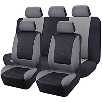CAR PASS - 11PCS E-Gray Universal E-Gray Automotive Seat Covers Set Package
