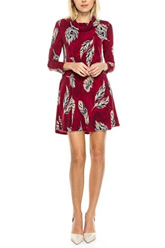 Print Cowl Neck Dress - 8