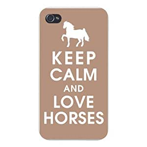 Apple Iphone Custom Case 5c White Plastic Snap on - Keep Calm and Love Horses w/ Galloping Silhouette
