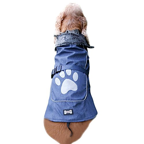 Halloween Dog Costumes Large Breed (Winter Dog Jacket Fur Collar Fleece Lined Coat Waterproof Windproof Pet Apparel Costume for Small Medium Large Breeds with Leash Hole)