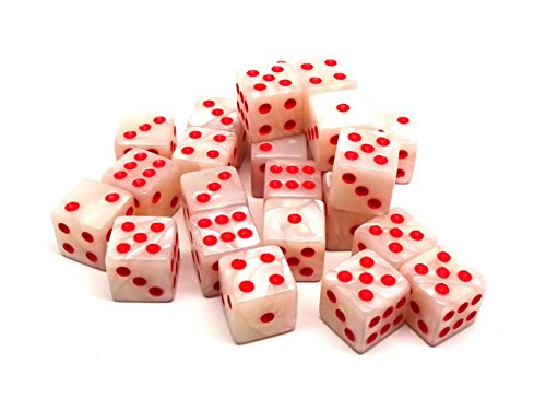 (Easy Roller Dice Co. 25 Count D6 Collection - Ivory Swirl with Red Pips - Perfect for Tabletop War Games and RPGs)