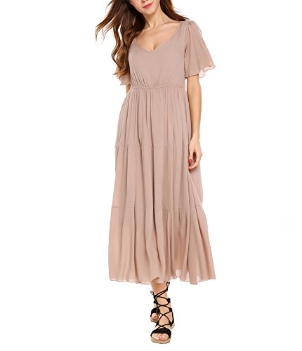Zeagoo Women V-Neck Back Tassel Hollow Out Pleated High Waisted Long Maxi Dress (Rose Grey,M) - Long Ruffle Tiered Dress