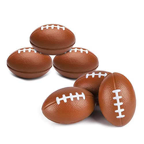 Grobro7 Mini Football Squishy Rugby Stress Relieve Balls Slow Rising Baseball Foam Toy Super Bowl Football Themed Party Supplies for Kids-6 Pack