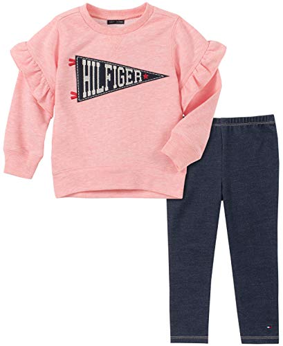 Tommy Hilfiger Girls' Toddler 2 Pieces Legging Set, Red Heather/Blue, 3T Casual Lounging Pant Set
