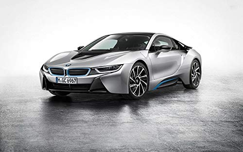 (Silver 2015 BMW i8 Sports Car Edible Cake Topper Image ABPID07803 - 1/2 sheet)