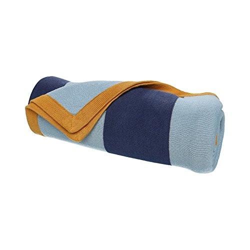 Noukies BB1740.43 Achille und Zebrito Jacquard Decke, 75 x 100 cm, blau