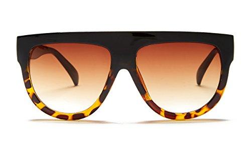 Sunny Rebel Women's Palisades Sunglasses + Pouch, Black/Honey Tortoise, - Wayfarer Honey