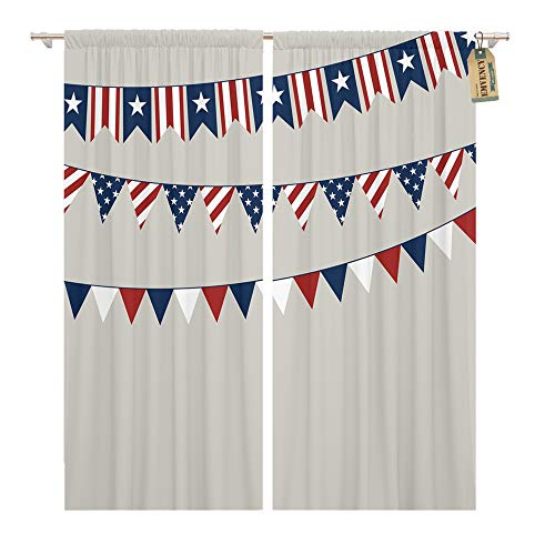 - Emvency Window Curtains 2 Panels Rod Pocket Drapes Satin Polyester Blend Flag Independence Day American Americana Living Bedroom Drapes Set 104 x 84 Inches