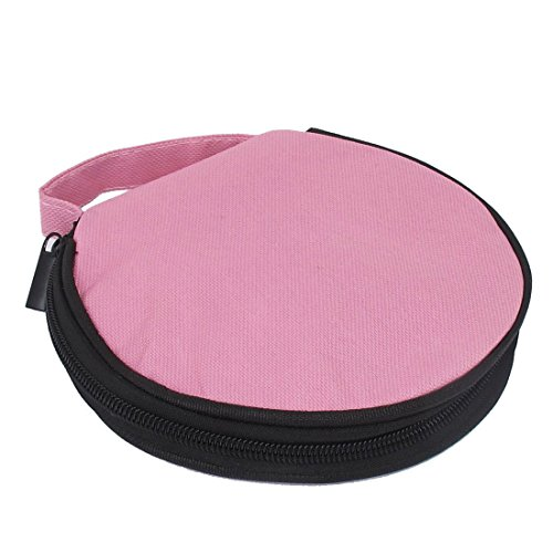 Nylon 20 Pcs Capacity CD DVD Holder Round Wallet Storage Case Pink