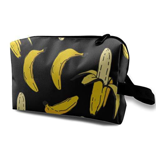 Premium Make up Bag Clutch Bag Carrying Case, Banana Fruit Funny Pattern Black Multipurpose Travel Makeup Train Case Holder Portable Gift for Women Ladies, Cosmetics Pen Bag Pouch