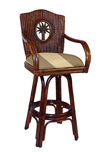 Hospitality Rattan 913-6208-TCA-B Lucaya Indoor Swivel Rattan & Wicker Bar Stool in TC Antique Finish with Cushion, 30