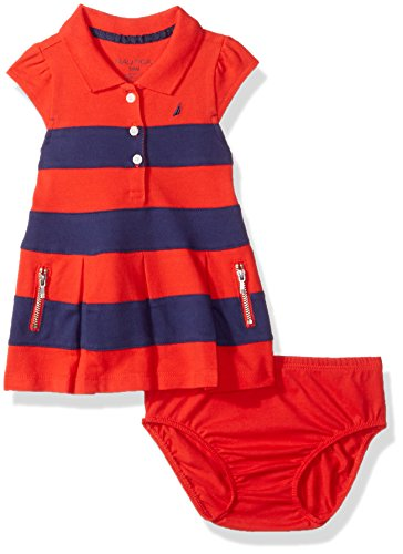 Nautica Bab Baby Girls' Newborn Shawl Collar Pique Dress,Bright Red,12 Months