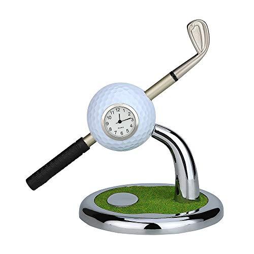 Golf Pen Gift, Golf Pen Holder with Aluminum Alloy Golf Pens Mini Office Gift Golf Souvenir Tour Novelty Birthday Festival Gift for Golf Lover Father Boyfriend Husband Coworker Boss Friend (White)