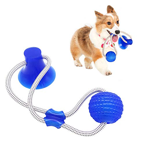 OKA Pet Supplies Self-Playing Rubber Ball Toy with Suction Cup Dog, Multifunction Interactive Ropes Toy Chew Toy Teeth Cleaning Tool for Dogs and Cats