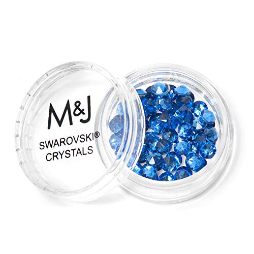 - Swarovski Crystals Flat Back Rhinestones - 2088 Xirius Rose Round Foil Backed - SS20 (4.6mm-5mm) - Sapphire 206 (Blue)