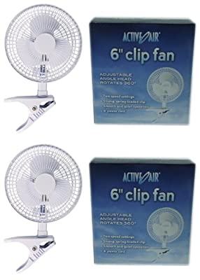 "(2) HYDROFARM ACFC6 Active Air 6"" Clip On Office Kitchen Hydroponics Grow Fans"