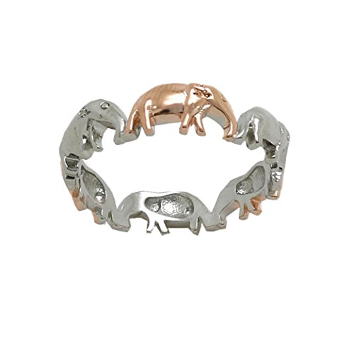 Lethez Women's Ring, Women Two Tone Lucky Elephant Rings Engagement Wedding Bridal Jewelry Animal Ring (Multicolor, 7) ()