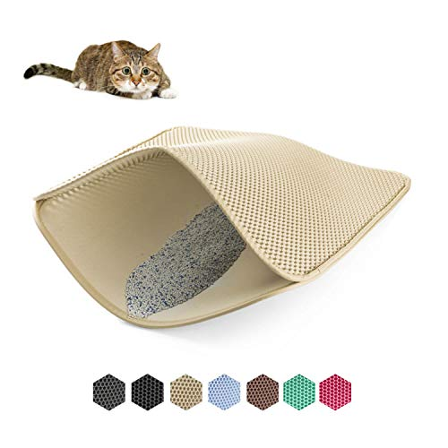 WePet Cat Litter Mat, Kitty Litter Trapping Mat, Small Size, Honeycomb Double Layer Mats, No Phthalate, Urine Waterproof, Easy Clean, Scatter Control, Catcher Litter Box Rug Carpet 20x16 Inch Beige