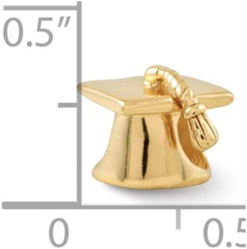 925 Sterling Silver Polished Antique finish Gold-Flashed Reflections Graduation Cap Bead Charm