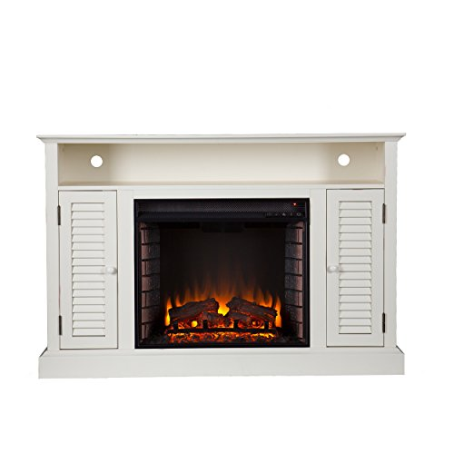 "50"" Electric Fireplace TV Stand Console With Antique White Finish Entertainment Unit Adjustable Shelving Fireplaces Cabinet Media Storage Stands Cabinets Doors Furniture Living Room NEW"