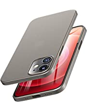 TOZO for iPhone 12 Mini Case 5.4 inch, Ultra Thin Hard Cover [0.35mm] World's Thinnest Protect Bumper Slim Fit Shell [Semi-Transparent] Lightweight with [Matte Finish Black]