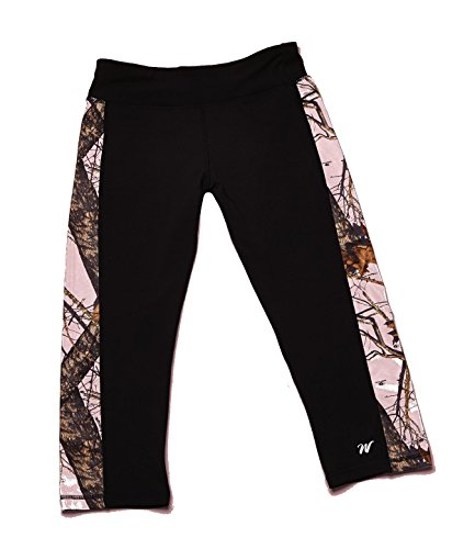 Wilderness-Dreams-Active-Wear-Capris-Pants-Black-with-Mossy-Oak-Pink-Size-Small