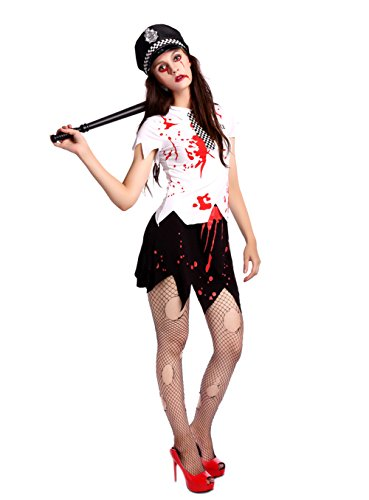 Costume Dead Halloween Woman Police (Honeystore Women's Policewoman Zombie Adult Mini Fancy Dress Cosplay Black and White)