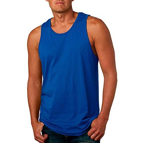 YAYUMI Men's Summer Sports Vest Fashion Pure Color Sleeveless Leisure Tops Blouse ()